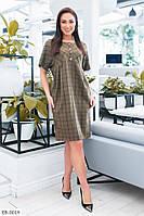 Модное летнее женское платье в клетку до колена свободного кроя размеры батал 50-56 арт 654