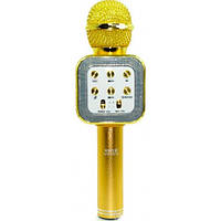 Безпровідний мікрофон караоке WS1818 золотистий, Bluetooth, microUSB / USB / MP3 / WMA, робота до 5-8час, мікрофон, мікрофон караоке