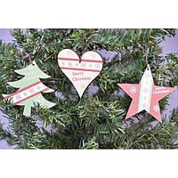 Набор подвесок на елку KSN193, 29*10 см, из 3 шт, дерево, Новогодние сувениры, Украшения новогодние, Игрушки