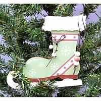 """Большая подвеска на елку """"Коньки"""" KSN204, 14.5*27 см, дерево, зеленный, Новогодние сувениры, Украшения"""