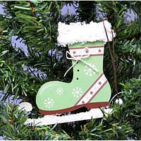 """Маленькая подвеска на елку """"Коньки"""" KSN207, 11*32 см, дерево, зеленый, Новогодние сувениры, Украшения"""