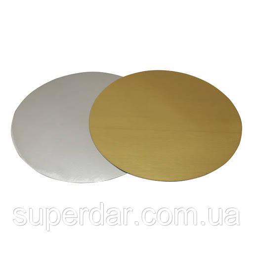 Подложка под торт золото/серебро 25 см.