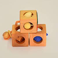 Кубіки тактильні з 6 міс, в наборі 3 штуки розміром 45/45 мм