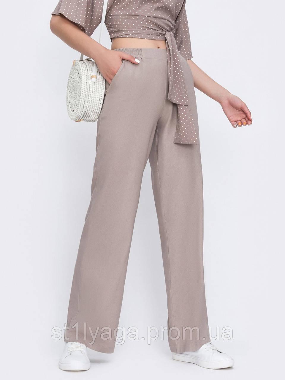 Светлые брюки-клеш из льна ЛЕТО