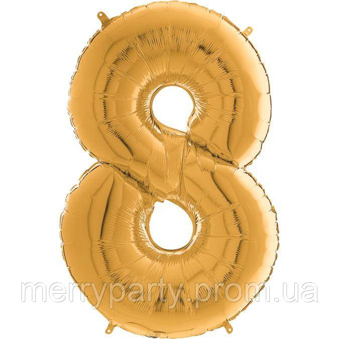 """26"""" Цифра """"8"""" (66 см) в упак., золото Grabo Италия шар фольгированный"""