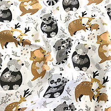 """Польская хлопковая ткань """"Олени, панды, еноты, лисички на белом"""", фото 3"""