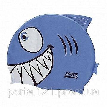 Шапочка для плавания детская/подростковая Zoggs Junior Silicone Character Cap акула