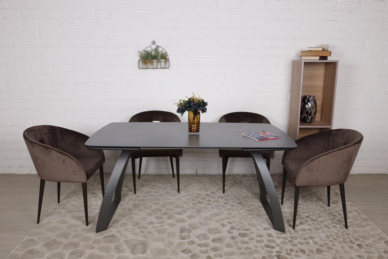 Стол обеденный LONDON Лондон (160/240*90*75cmH) керамика мокрый асфальт от Niсolas