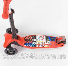 Детский трехколесный самокат Best Scooter 49886, складной руль с фарой и 4 колеса PU со светом, d=12 см красный, фото 3