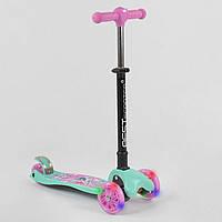 Самокат трехколесный с складной ручкой и фонариком Best Scooter 98607 Голубой с розовым