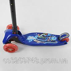Самокат детский трехколесный складной с фонариком Best Scooter 13909 Синий, фото 3