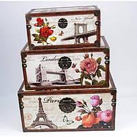 Декоративный сундук для хранения украшений Париж набор из 3шт, прямоугольный, сундук для урашений, сундук