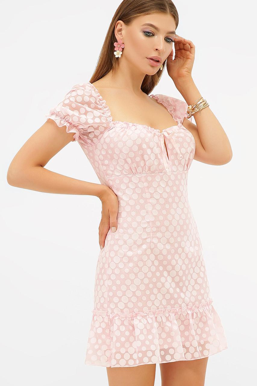 Летнее нежно розовое платье с рукавами фонариками Даина