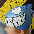 Шапочка для плавания детская/подростковая Zoggs Junior Silicone Character Cap акула, фото 3