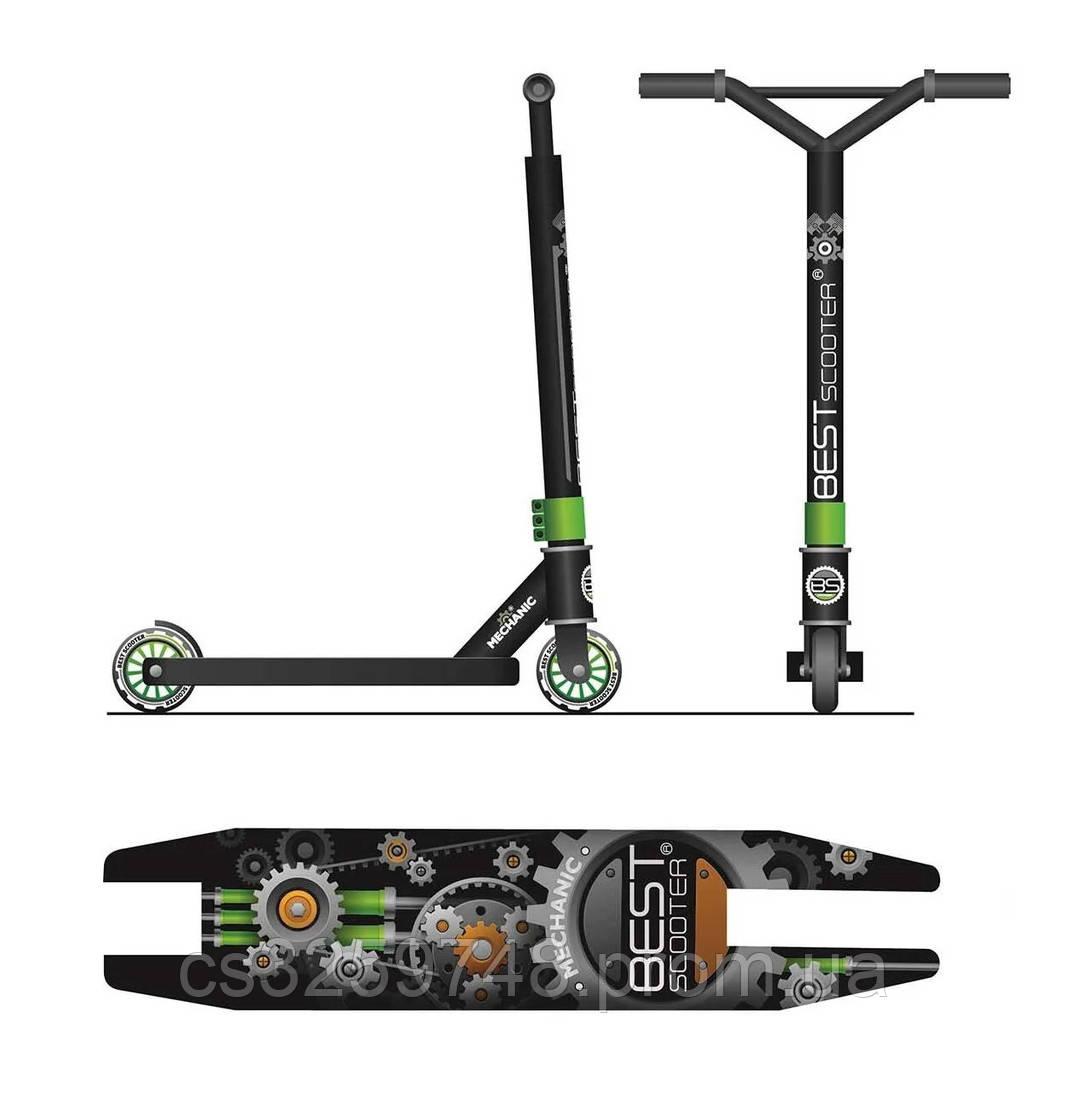 Двухколесный трюковый самокат Best Scooter 59422 с алюминиевыми дисками и декой, колеса 10 см, зеленый