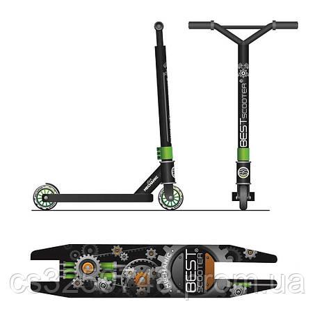 Двухколесный трюковый самокат Best Scooter 59422 с алюминиевыми дисками и декой, колеса 10 см, зеленый, фото 2