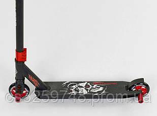 Самокат трюковий з HIC системою з пегами Best Scooter 94655, алюмінієвий диск і дека, чорний з червоним, фото 2