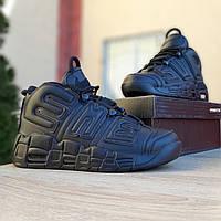 Мужские кроссовки Nike Air More Uptempo  Supreme черные (ТОП реплика)
