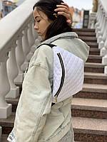 Сумка поясная женская городская непромокаемая большая тканевая белая, фото 1