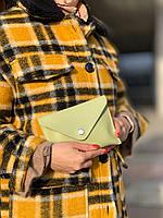 Сумка клатч женская модная маленькая на пояс из экокожи зеленая, фото 1