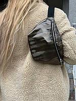 Сумка поясная бананка женская городская модная большая из экокожи черная, фото 1