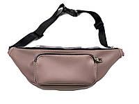 Классическая женская сумочка на пояс сиреневая из экокожи, фото 1