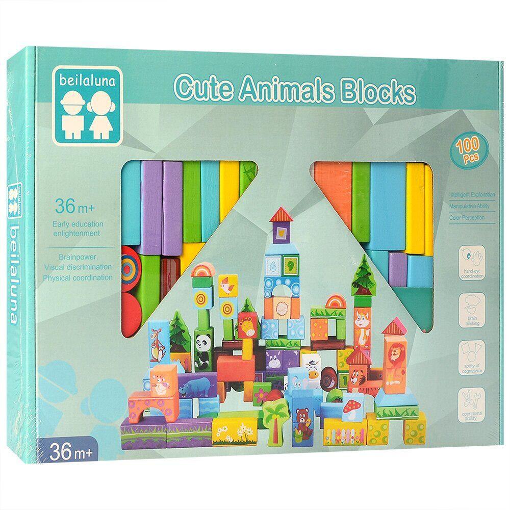 Деревянная игрушка Городок MD 2437_4 100 деталей Зоопарк