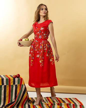 Жіноча лляна сукня вишиванка Клер червоне, фото 2
