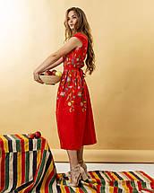 Жіноча лляна сукня вишиванка Клер червоне, фото 3