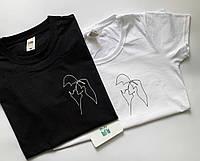 Парные футболки для парня и девушки c принтом - Поцелуй пары