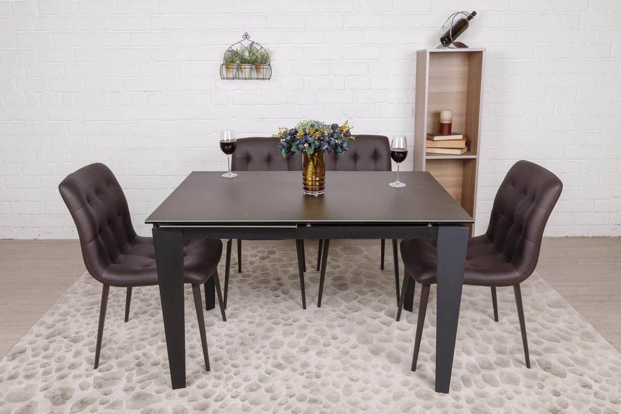 Стол обеденный ALTA (Альта) керамика коричневый матовый 120/170 от Niсolas
