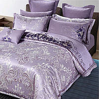 Элитное постельное белье Viluta Сатин жаккард Tiare 2007 Евро Сиреневый (1005103)