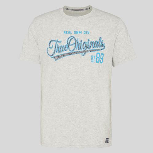 Фирменная хлопковая серая футболка С&A с принтом оригинал