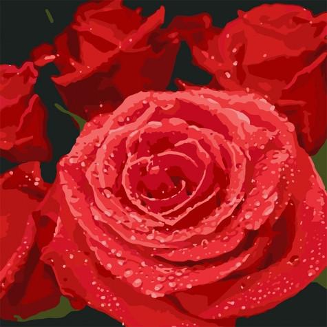"""Картина по номерам. """"Красные розы"""" 40*40см KHO3089"""
