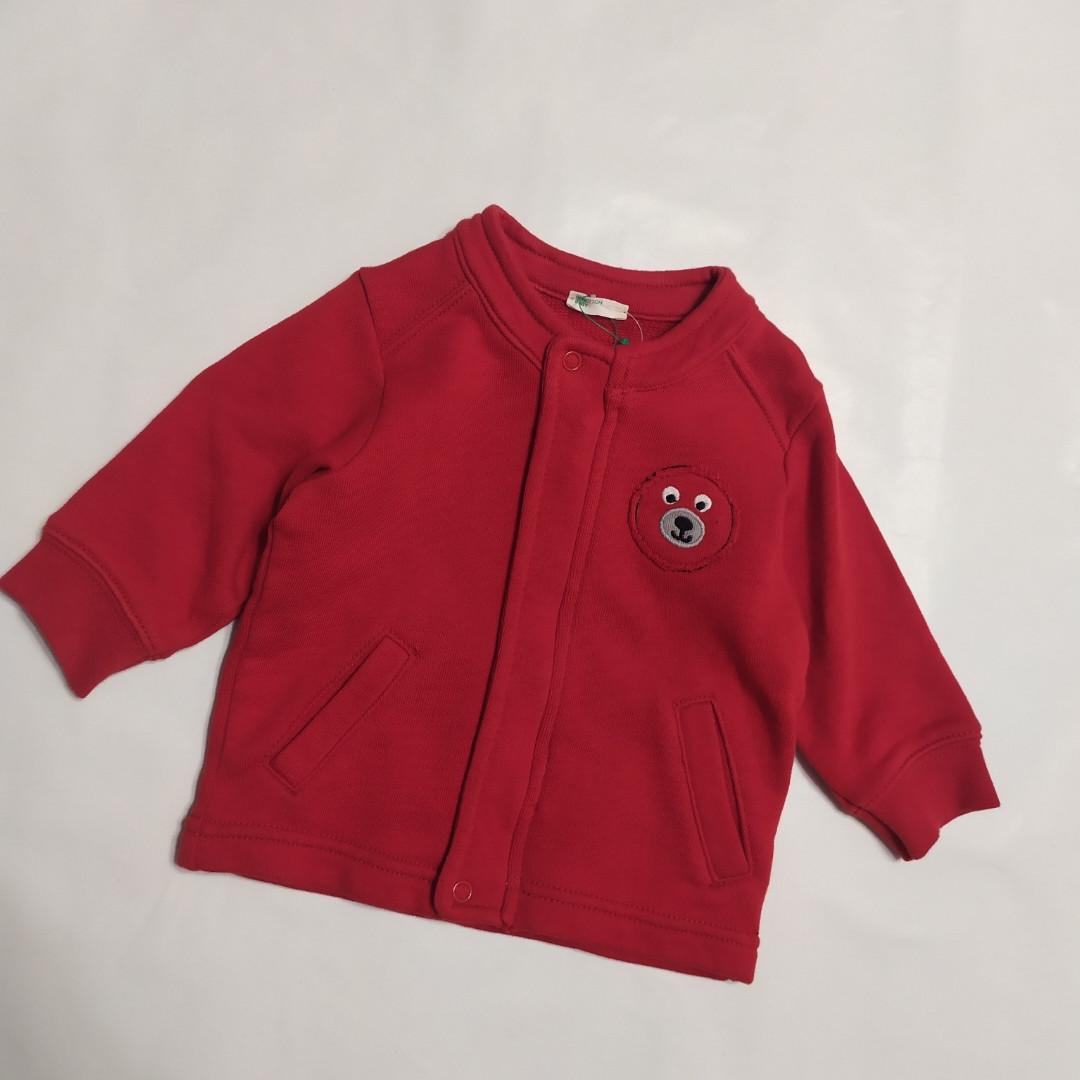 Толстовка для новорожденных на молнии красная Benetton baby Италия р.62см (3-6мес.)
