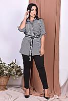 Костюм женский блузка полоска под пояс  с лосинами большие размеры   50-52,54-56,58-60,62-64, фото 1
