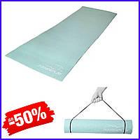 Коврик для фитнеса и йоги PowerPlay 4010, каремат для йоги 183х61х0,6 см, йогамат нескользящий мятный