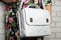 Большая кожаная сумка-портфель, белая сумка ручной работы из натуральної кожи, фото 1