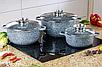 Набор посуды Edenberg кастрюль с мраморным покрытием 6 предметов, фото 5