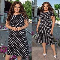 Женское платье в горошек батал с 48 по 58 рр ткань софт