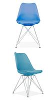 Стул Тауэр C, пластиковый с подушкой, цвет голубой