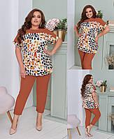 Женский летний брючный костюм больших размеров 50,52,54,56-58 юэ21074, фото 1