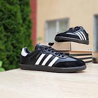 Мужские кроссовки в стиле Adidas Samba черные с белым, фото 1