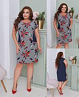 Женское летние платье софт с карманами большие размеры 50,52,54,56-58, фото 1