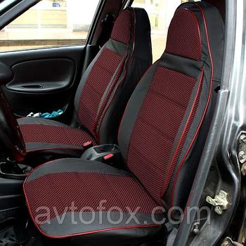 """Чохли сидінь ВАЗ 2106 комплект чорна Шкірозамінник + тканина червона """"Пілот"""""""