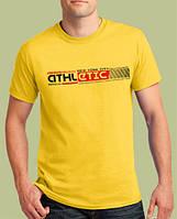 Желтая мужская футболка «ATHLETIC NY» / Коллекция 2019 / Ширина 51 см / Акция