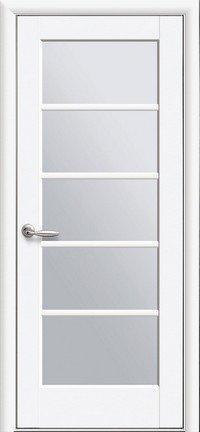 Дверь межкомнатная Муза белый матовый 600 мм со стеклом сатин.