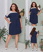 Женское платье на кулиске  лён жатка  вверх вставка макраме большие размеры  0,52,54,56-58 юэ21078, фото 1