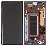 Дисплей для Samsung N960 Galaxy Note 9 модуль в сборе с тачскрином, золотистый, с рамкой, Original (PRC)