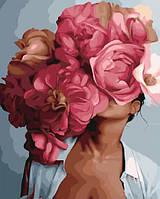 Картина по номерам Портрет с пионами, Эми Джадд, цветной холст, 40*50 см, без коробки, ТМ Barvi+ ЛАК
